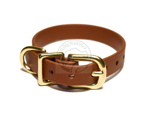 "Milk Chocolate Brown Biothane Small Dog Collar - 1/2"" (12mm) wide"