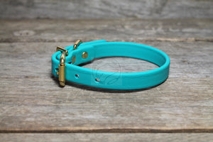 "Teal Biothane Dog Collar - 5/8""(16mm) wide"