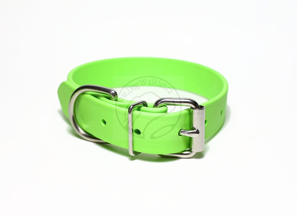 Lime Green Biothane Dog Collar - 1 inch (25mm) wide
