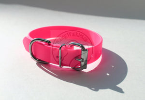 Neon Pink Biothane Dog Collar - 1 inch (25mm) wide