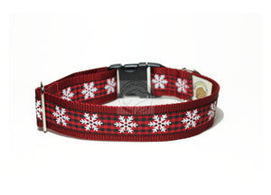 Snowflakes on Country Plaid - wide dog collar