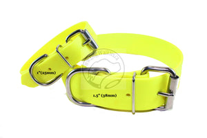 Neon Yellow Biothane Dog Collar - Extra Wide - 1.5 inch (38mm) wide