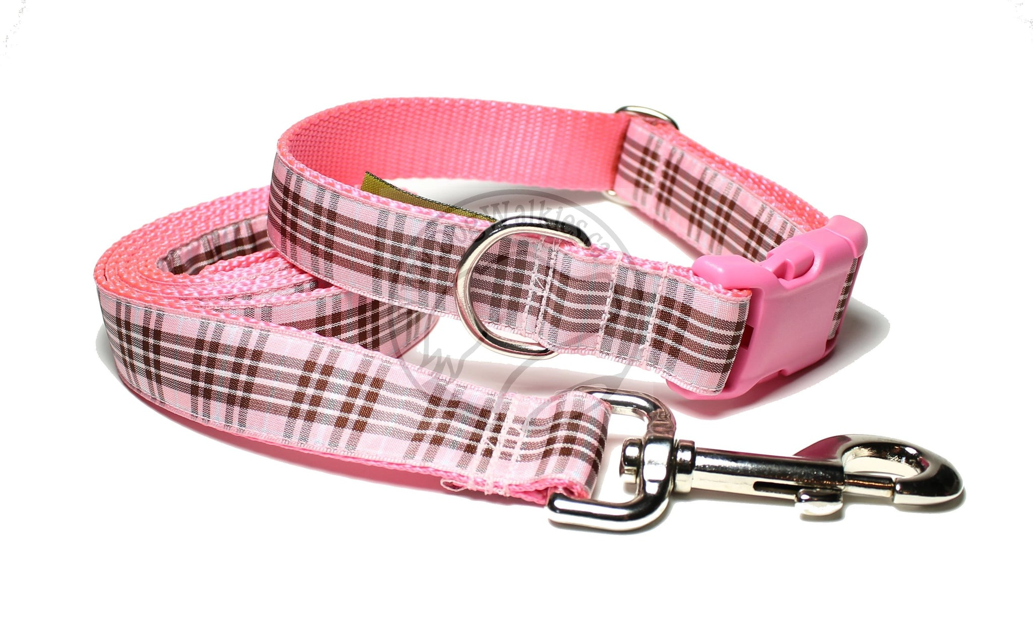 Raspberry tartan - Pink dog collar