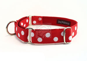 Red with white dots - nylon dog collar