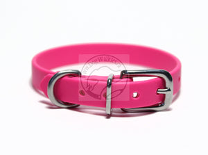 "Fuchsia Pink Biothane Small Dog Collar - 1/2"" (12mm) wide"