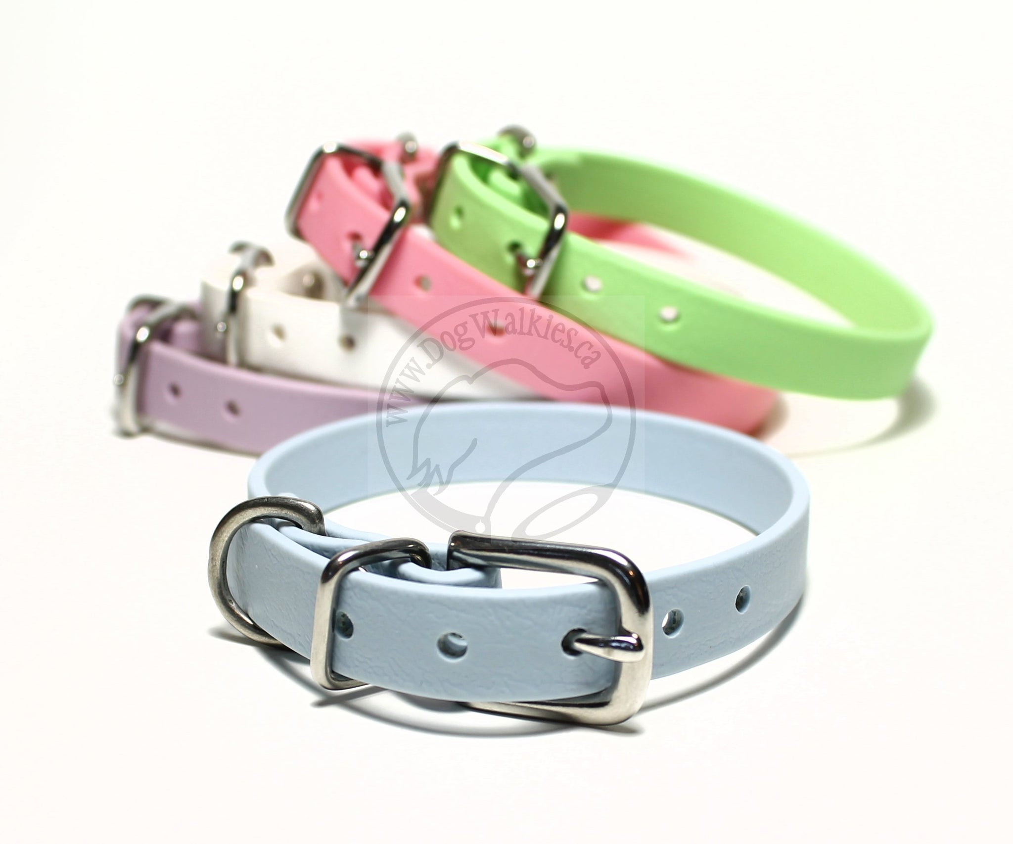 "Pastel Blue Biothane Small Dog Collar - 1/2"" (12mm) wide"
