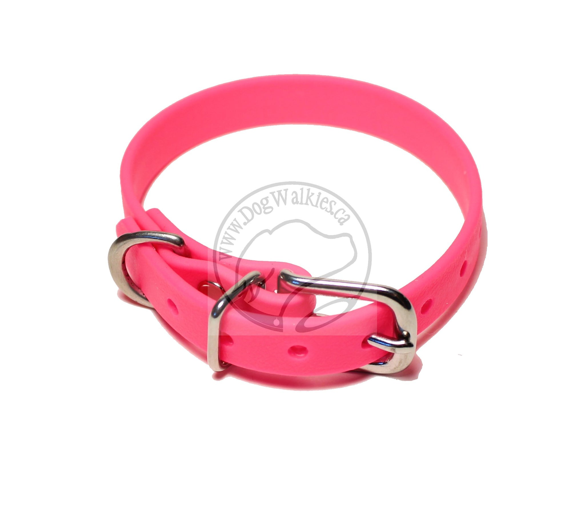 "Neon Pink Biothane Small Dog Collar - 1/2"" (12mm) wide"
