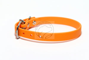 "Bright Pumpkin Orange Biothane Small Dog Collar - 1/2"" (12mm) wide"