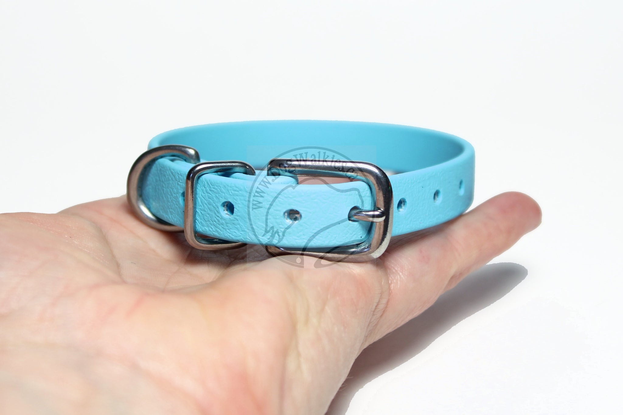"Frozen Blue Biothane Small Dog Collar - 1/2"" (12mm) wide"
