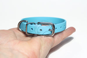 "*NEW* Frozen Blue Biothane Small Dog Collar - 1/2"" (12mm) wide"