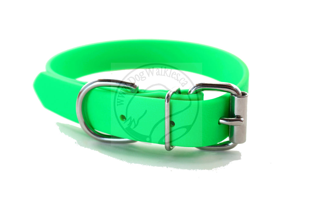 Neon Apple Green Biothane Dog Collar - 1 inch (25mm) wide