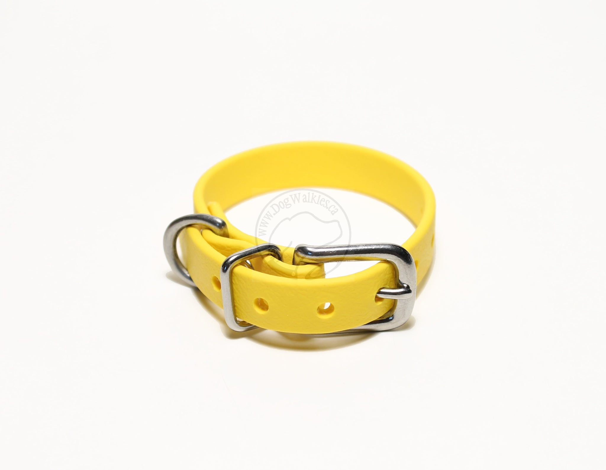 "Sunflower Yellow Biothane Small Dog Collar - 1/2"" (12mm) wide"