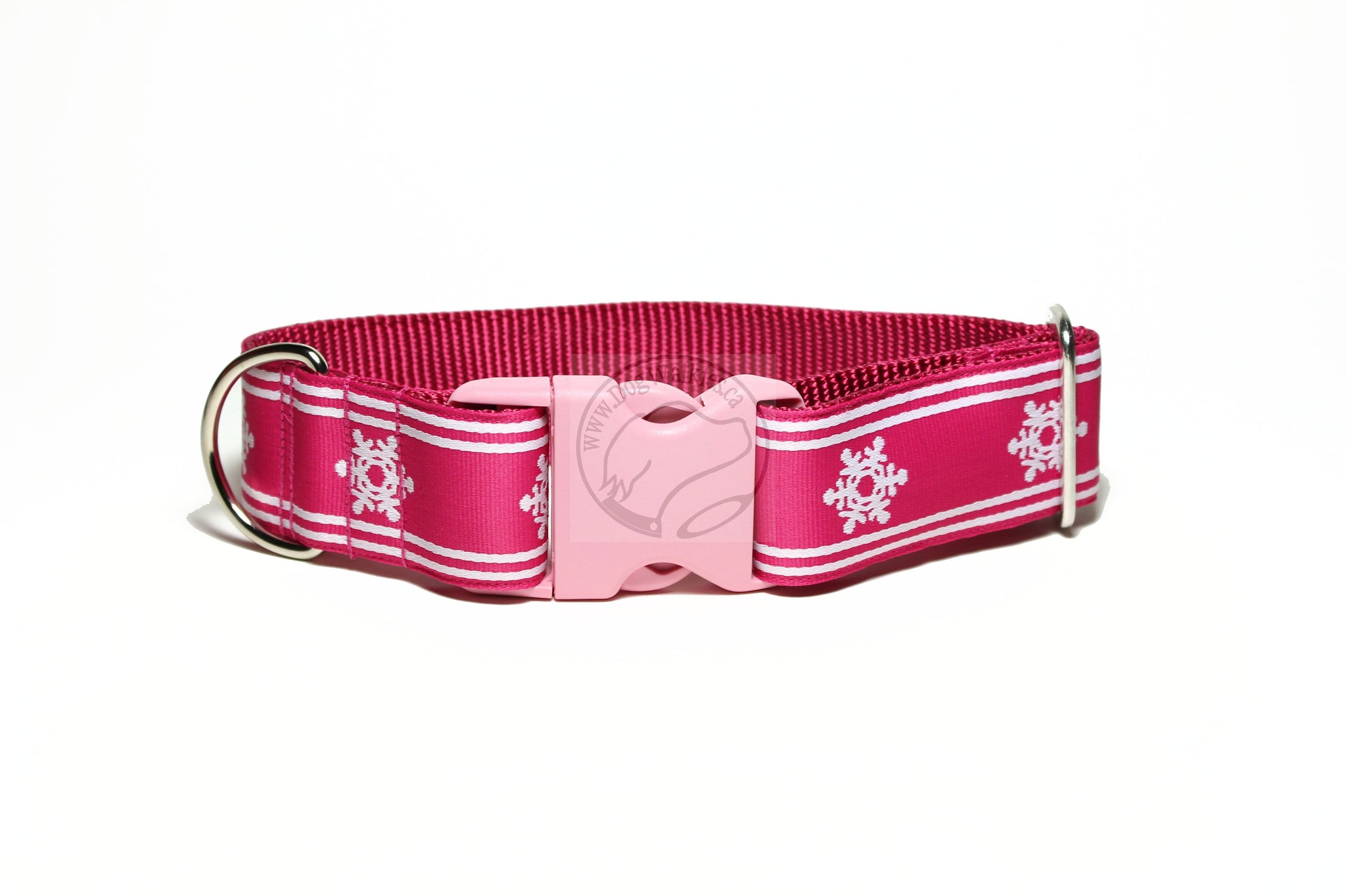 Winter Wonderland in Black, Pink or Blue - wide dog collar