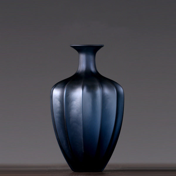 Blue Glass Vase American Modern Minimalist Model Room Furnishings