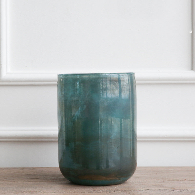 European and American Retro Polished Blue Glass Vase - Large - Decorluv