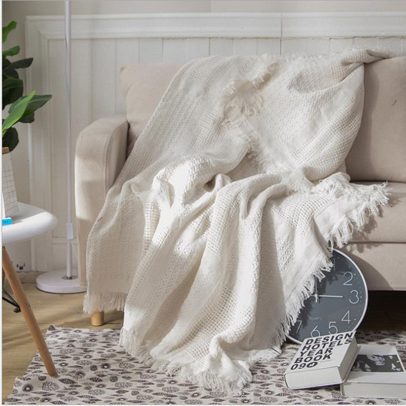 White Grid Cotton Throw Blanket-Decorluv
