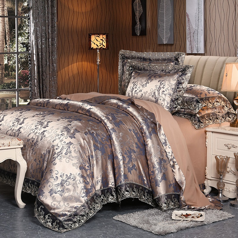 4 Pieces Luxury Satin Lace duvet cover set by IvaRose HOME TEXTILE-Decorluv