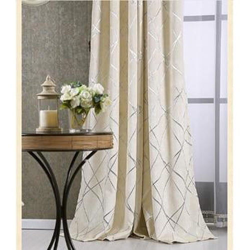 Striped Grommet Woven Fabric Drapes-Decorluv