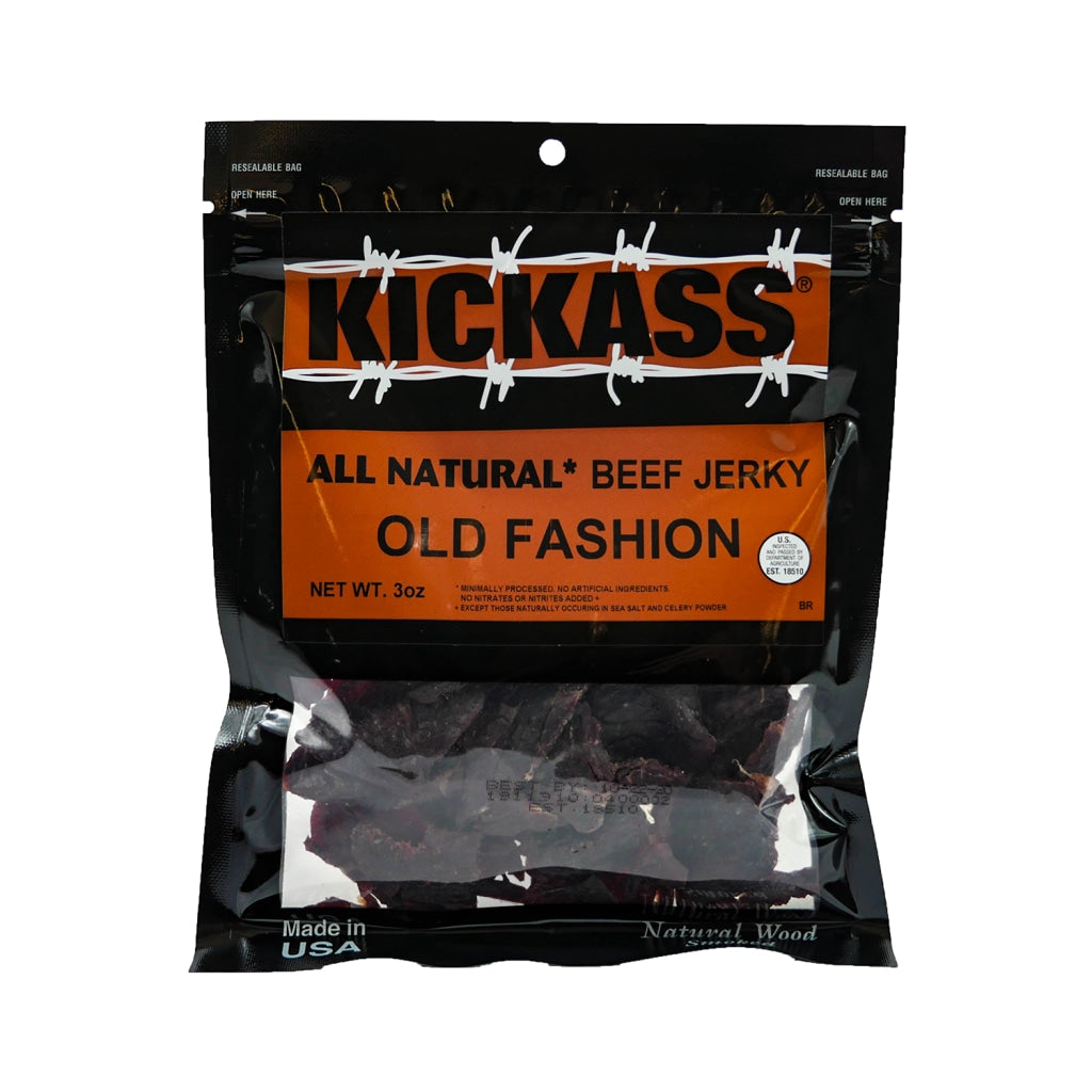 Kickass All Natural Old Fashioned Jerky 3Oz (4 Bags)