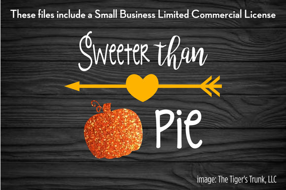 Sweeter than Pumpkin Pie cutting file package (SVG, DXF, JPG, GSP, PDF, PNG)