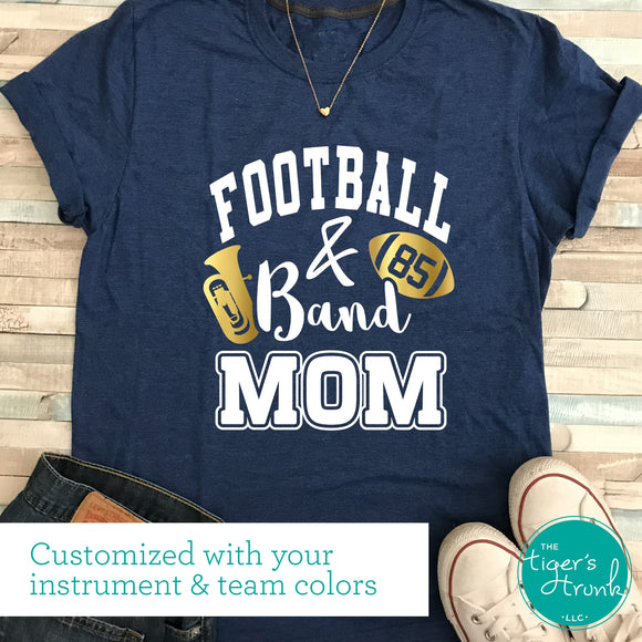 Personalized Football and Band Mom tee