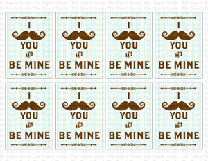 I Mustache You to Be My Valentine Cards (instant download)
