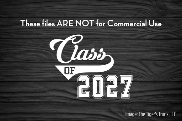 Class of 2027 cutting file package (SVG, DXF, JPG, GSP, PDF, PNG)