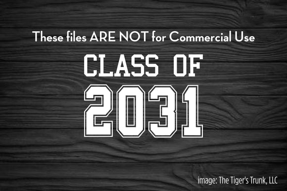 Class of 2031 cutting file package (SVG, DXF, JPG, GSP, PDF, PNG)