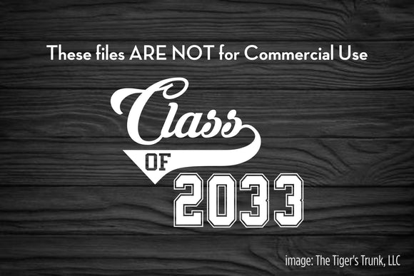 Class of 2033 cutting file package (SVG, DXF, JPG, GSP, PDF, PNG)