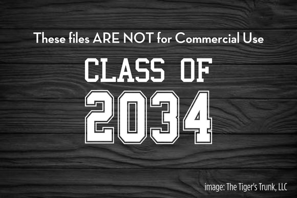 Class of 2034 cutting file package (SVG, DXF, JPG, GSP, PDF, PNG)