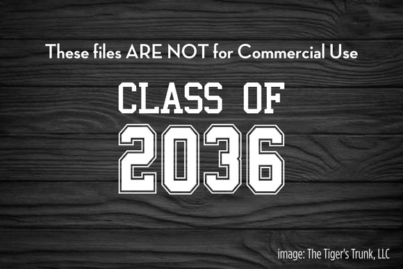 Class of 2036 cutting file package (SVG, DXF, JPG, GSP, PDF, PNG)