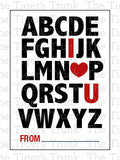Alphabet I Love You Printable Valentine Cards