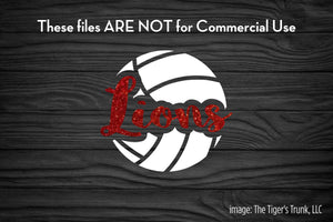 Volleyball Mascot: Lions cutting file package (SVG, DXF, JPG, GSP, PDF, PNG)