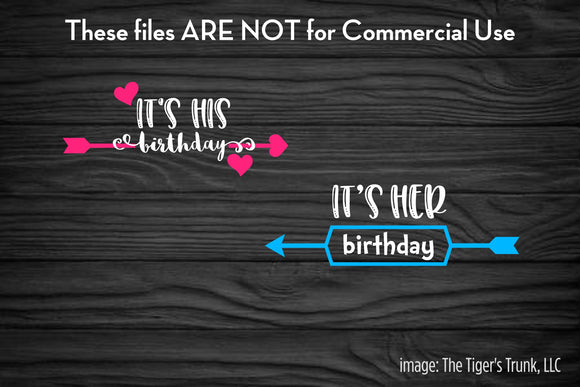 It's Her Birthday It's His Birthday Twins cutting file package (SVG, DXF, JPG, GSP, PDF, PNG)