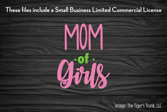 Mom of Girls cutting file package (SVG, DXF, JPG, GSP, PDF, PNG)