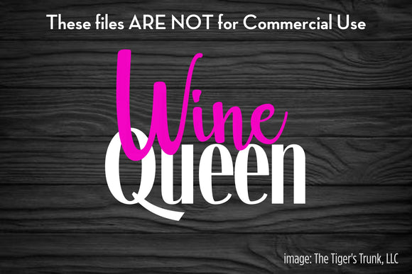 Wine Queen cutting file package (SVG, DXF, JPG, GSP, PDF, PNG)
