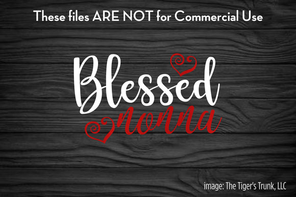Blessed Nonna cutting file package (SVG, DXF, JPG, GSP, PDF, PNG)