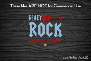 Ready to Rock Second Grade cutting file package (SVG, DXF, JPG, GSP, PDF, PNG)