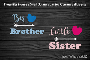 Big Brother / Little Sister cutting file packages (SVG, DXF, JPG, GSP, PDF, PNG)