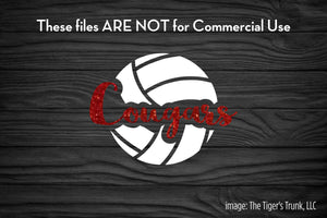 Volleyball Mascot: Cougars cutting file package (SVG, DXF, JPG, GSP, PDF, PNG)