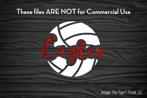 Volleyball Mascot: Eagles cutting file package (SVG, DXF, JPG, GSP, PDF, PNG)