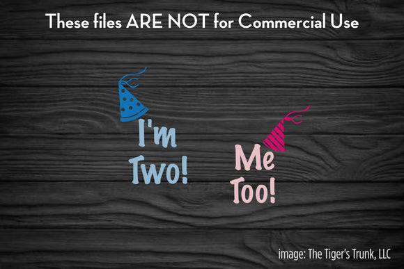 I'm Two Me Too Twins cutting file package (SVG, DXF, JPG, GSP, PDF, PNG)