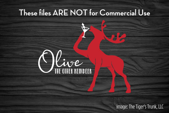 Olive the Other Reindeer cutting file package (SVG, DXF, JPG, GSP, PDF, PNG)