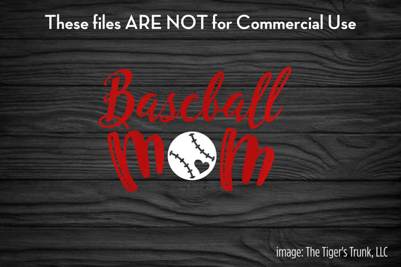 Baseball Mom cutting file package (SVG, DXF, JPG, GSP, PDF, PNG)
