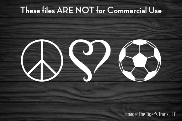 Peace Love and Soccer cutting file package (SVG, DXF, JPG, GSP, PDF, PNG)