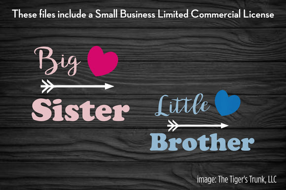 Big Sister / Little Brother cutting file packages (SVG, DXF, JPG, GSP, PDF, PNG)