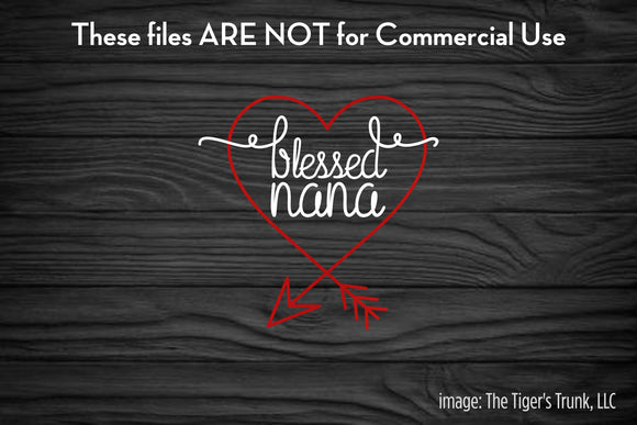Blessed Nana cutting file package (SVG, DXF, JPG, GSP, PDF, PNG)