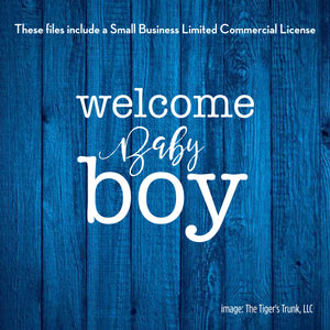 Welcome Baby Boy cutting file package (SVG, DXF, JPG, GSP, PDF, PNG)
