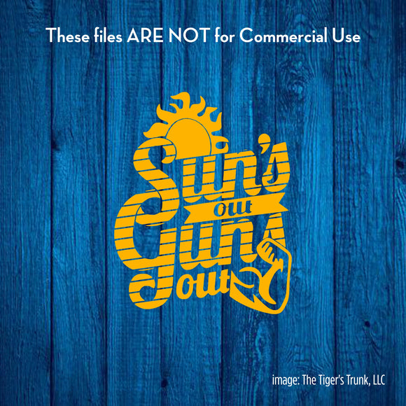 Sun's Out Guns Out cutting file package (SVG, DXF, JPG, GSP, PDF, PNG)