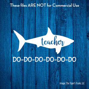 Teacher Shark cutting file package (SVG, DXF, JPG, GSP, PDF, PNG)